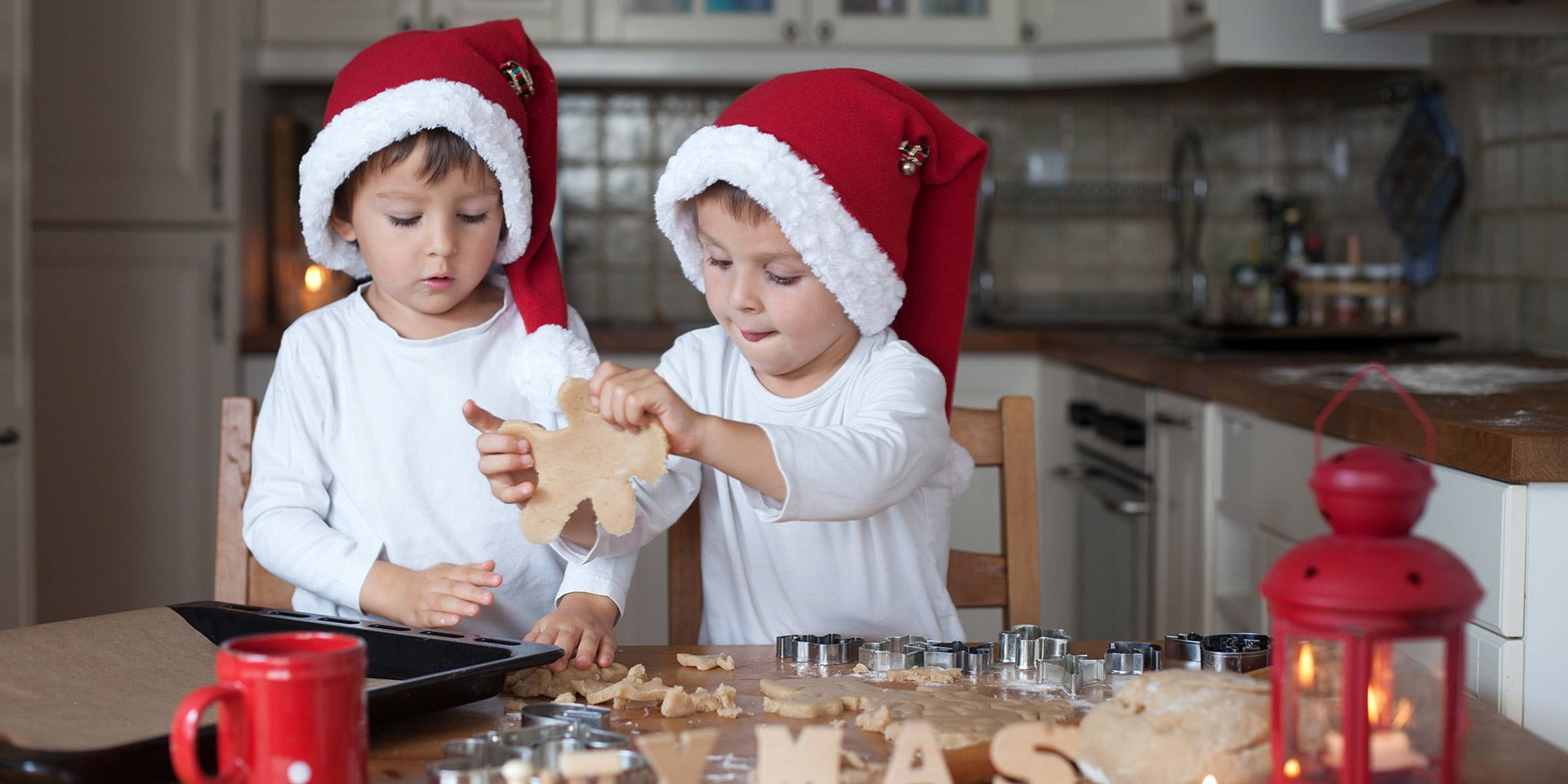 Children making Christmas food
